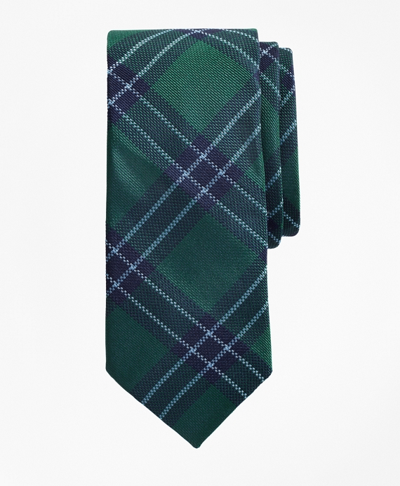 Boys Plaid Tie Green-Navy
