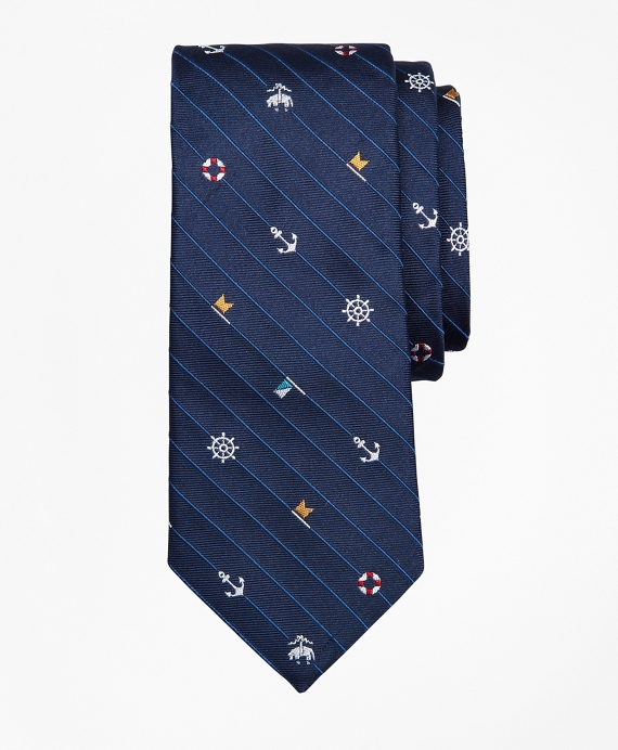 Boys Tossed Nautical Print Tie Navy