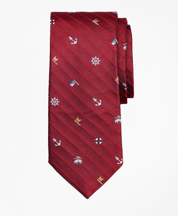 Boys Tossed Nautical Print Tie Red