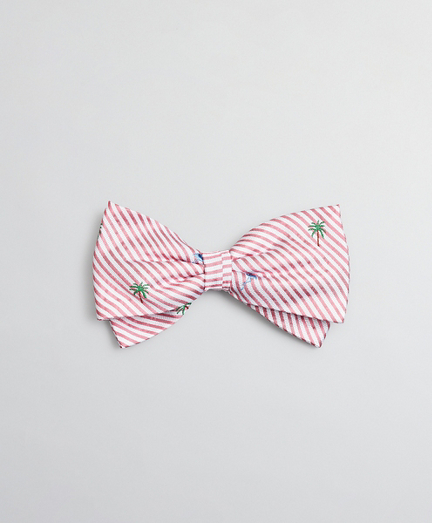 Boys Seersucker Flamingo and Palm Tree Print Pre-Tied Bow Tie