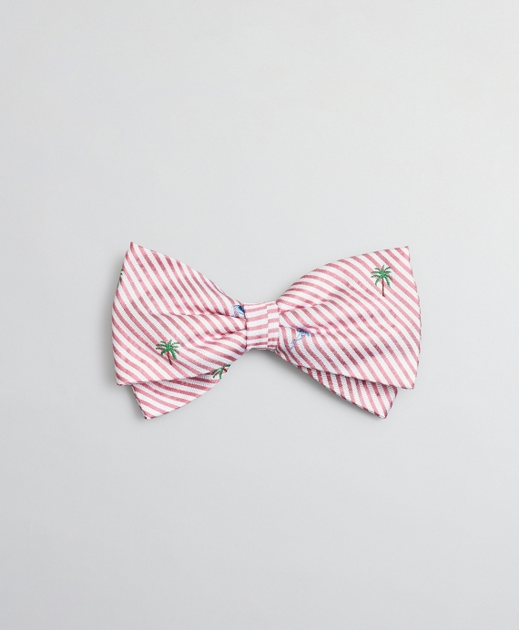 Boys Seersucker Flamingo and Palm Tree Print Pre-Tied Bow Tie Pink-White