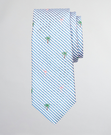 Boys Seersucker Flamingo and Palm Tree Print Tie