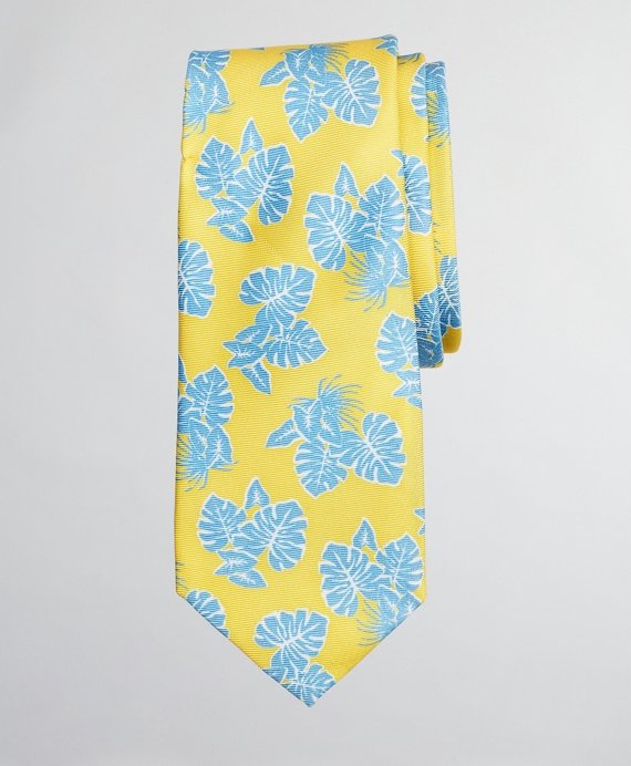 Boys Palm Leaf Print Tie Yellow-Blue