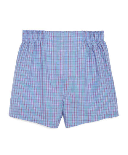 Blue with Red Check Boxers