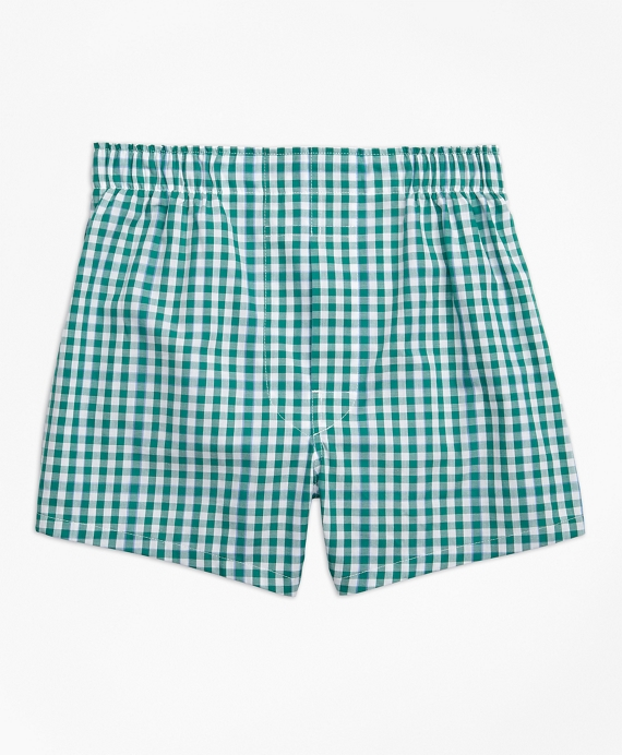 Boys Gingham Boxers Dark Green