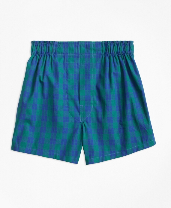 Boys Holiday Plaid Boxers Green