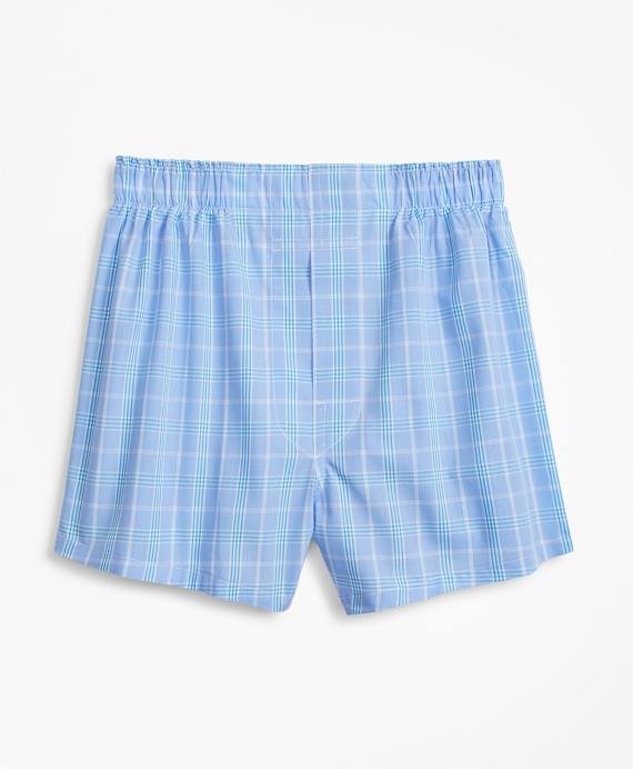 Boys Plaid Boxers Blue