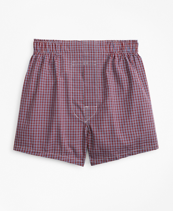 Boys Check Boxers Burgundy-Navy