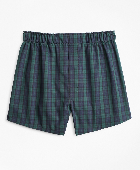 Boys Black Watch Plaid Boxers Green-Navy