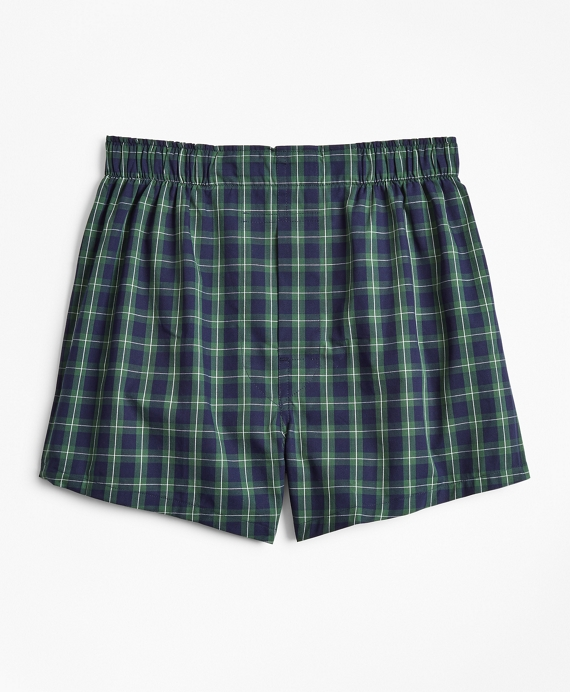 Boys Holiday Plaid Boxers Navy-Green