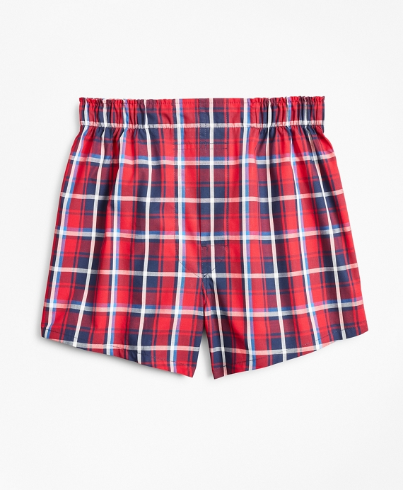 Boys Holiday Plaid Boxers Navy-Red