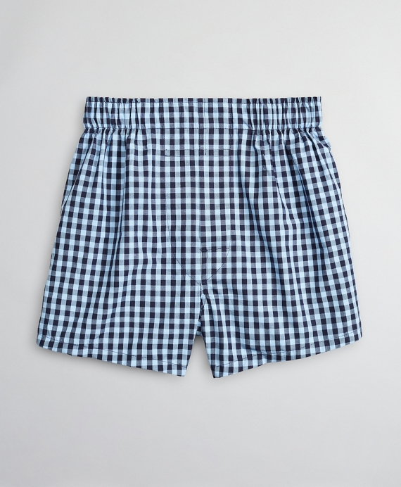 Boys Gingham Boxers Blue