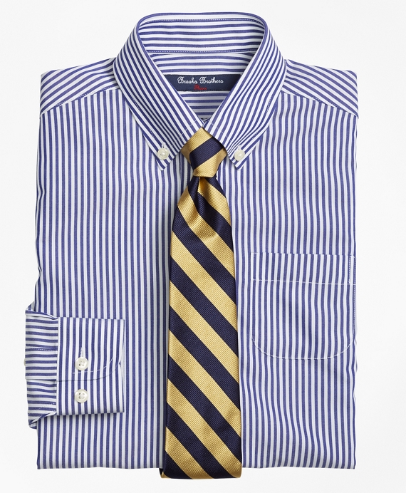 Boys Non-Iron Supima® Cotton Broadcloth Bengal Stripe Dress Shirt Navy