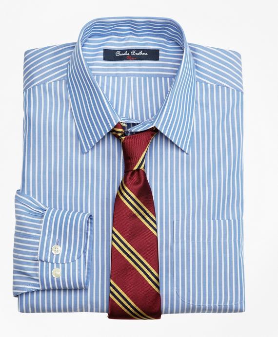 Boys Non-Iron Supima® Cotton Broadcloth Ground Stripe Dress Shirt Blue