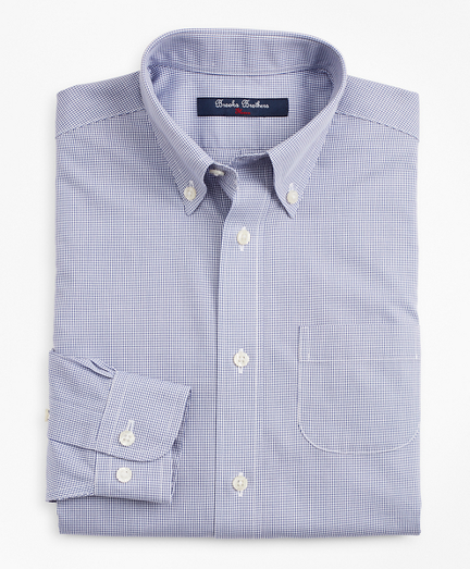 Boys Non-Iron Polo Button-Down Collar Micro-Check Dress Shirt