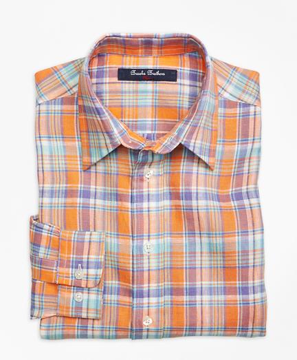 Boys Irish Linen Plaid Sport Shirt