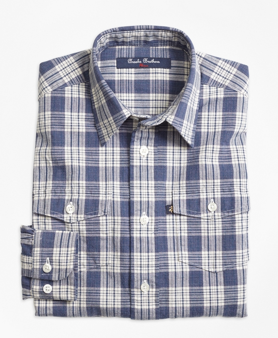 Boys Chambray Plaid Sport Shirt Blue White