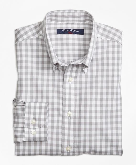 Boys Non-Iron Gingham Sport Shirt Grey