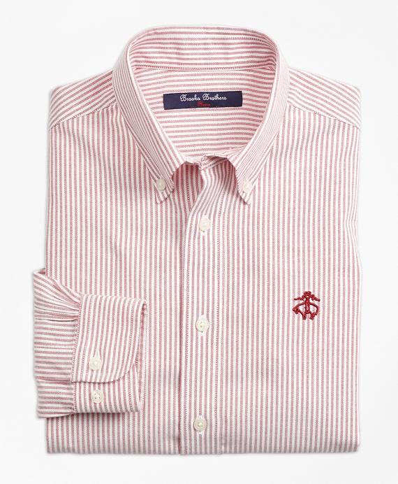 Boys Non-Iron Club Stripe Sport Shirt Red