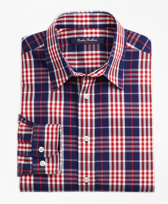 Boys Non-Iron Plaid Sport Shirt Navy-Red