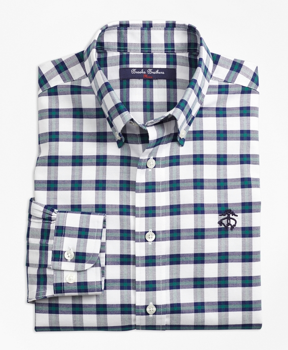Boys Non-Iron Supima® Cotton Check Sport Shirt Green-Navy