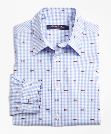 Boys Cotton Gingham Sport Shirt with Fishbone Embroidery
