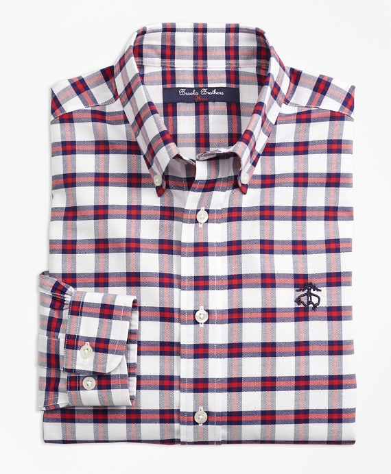 Boys Non-Iron Supima® Cotton Check Sport Shirt Red-Navy