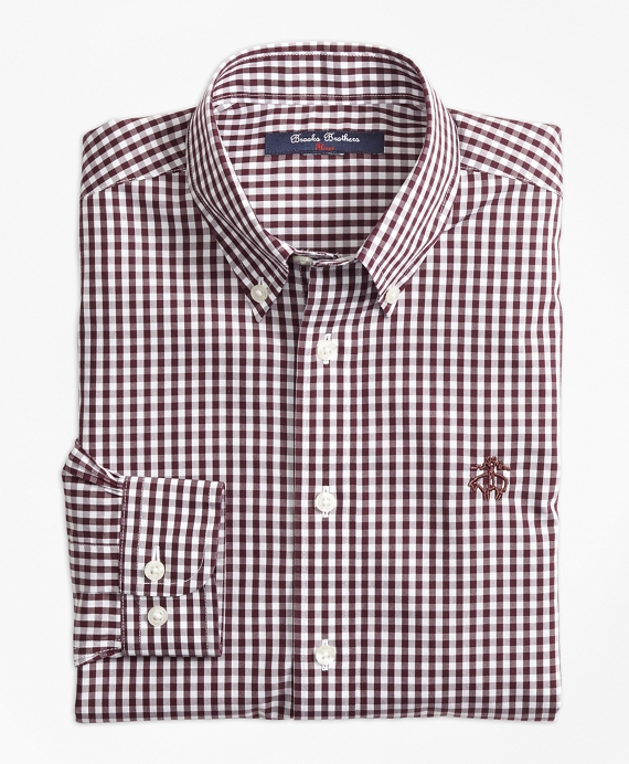 Boys Non-Iron Gingham Sport Shirt Burgundy