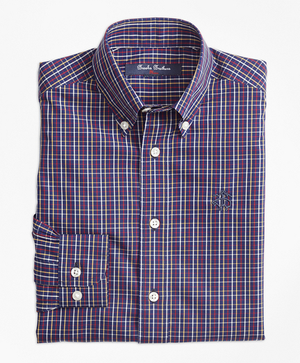 Non-Iron Windowpane Tattersall Sport Shirt