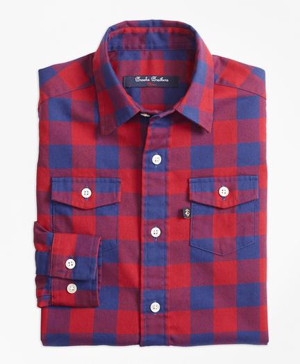 Two Tone Plaid Flannel Sport Shirt