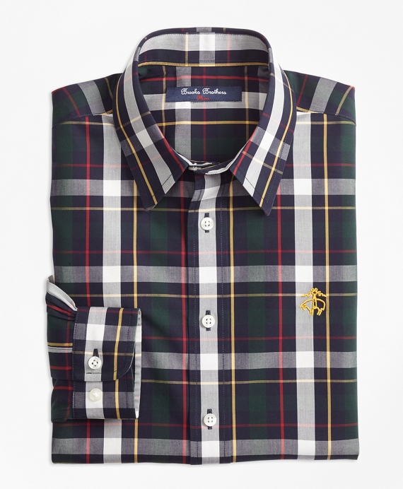 Boys Non-Iron Bold Plaid Sport Shirt Green-Multi
