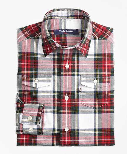 Boys Stewart Plaid Flannel Sport Shirt
