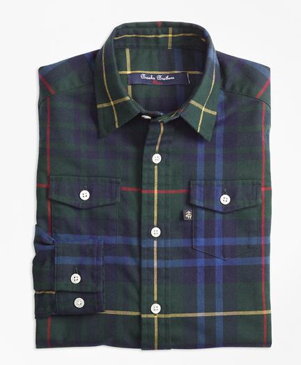 Boys Stewart Hunting Plaid Flannel Sport Shirt