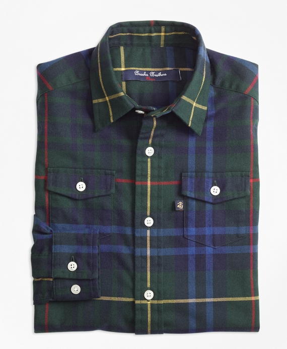 Boys Stewart Hunting Plaid Flannel Sport Shirt Green-Multi