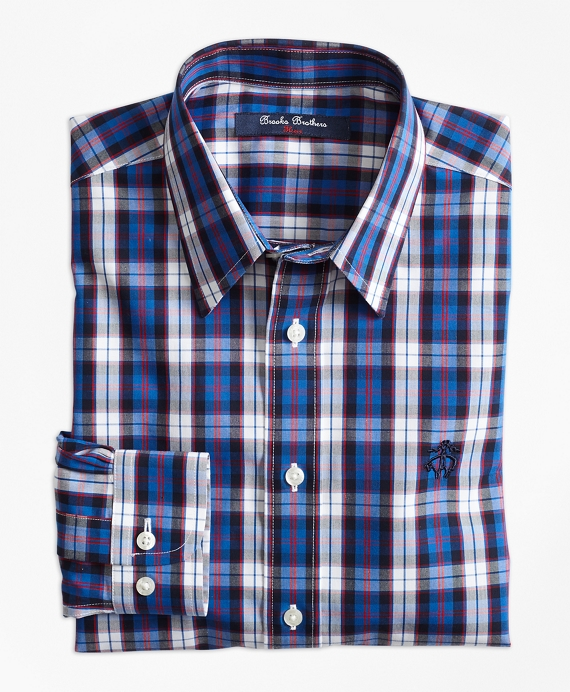 Boys Non-Iron Bold Plaid Sport Shirt Blue-Red