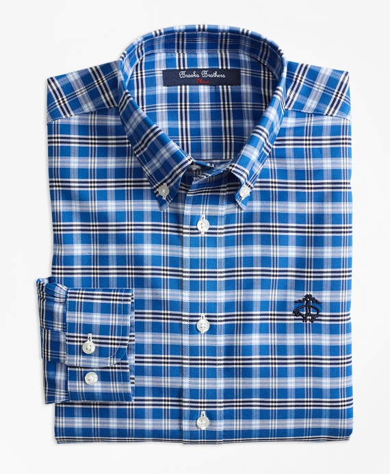 Boys Non-Iron Supima® Cotton Tattersall Sport Shirt Blue-Multi