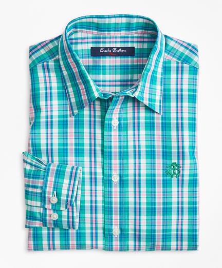 Boys Non-Iron Bright Plaid Sport Shirt