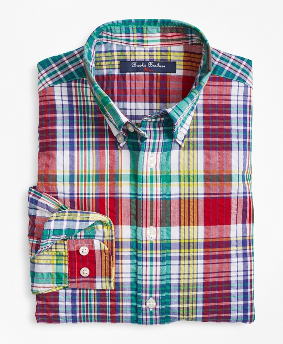 Boys Cotton Madras Seersucker Sport Shirt Multi