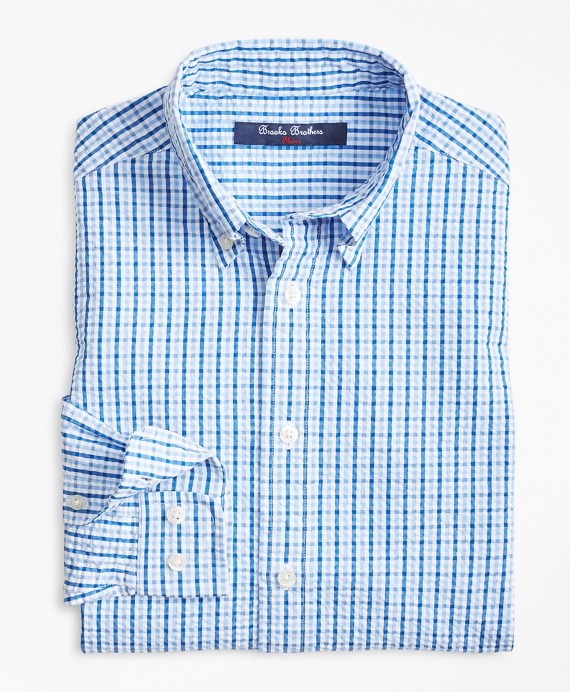 Boys Cotton Seersucker Sport Shirt Blue-White