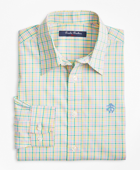Boys Non-Iron Madras Sport Shirt Green-Multi