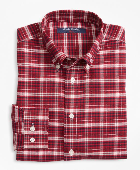 Boys Non-Iron Plaid Sport Shirt Red