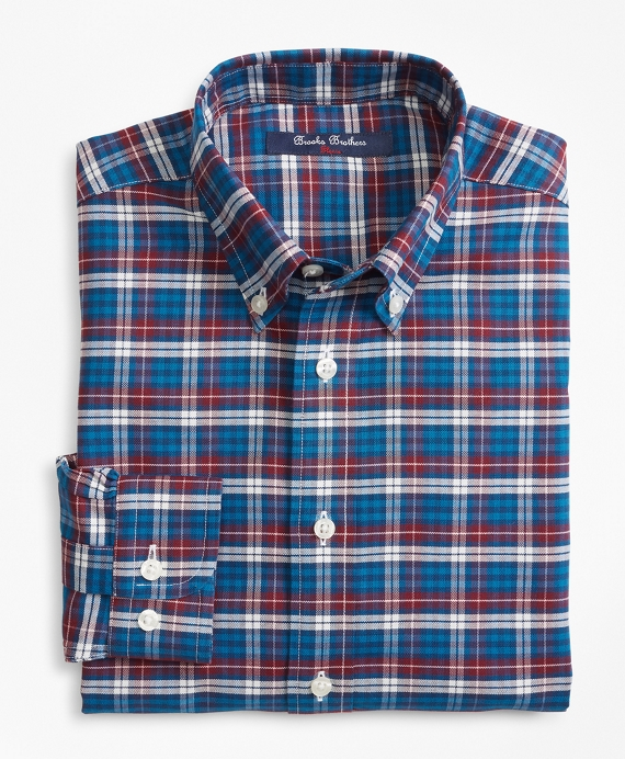 Boys Non-Iron Plaid Sport Shirt Teal