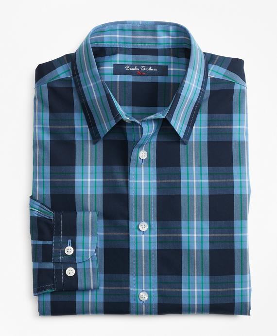 Boys Non-Iron Outlined Plaid Sport Shirt Blue