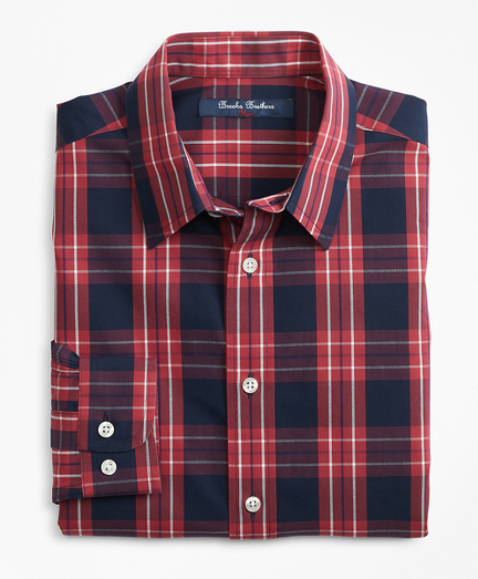 Boys Non-Iron Outlined Plaid Sport Shirt
