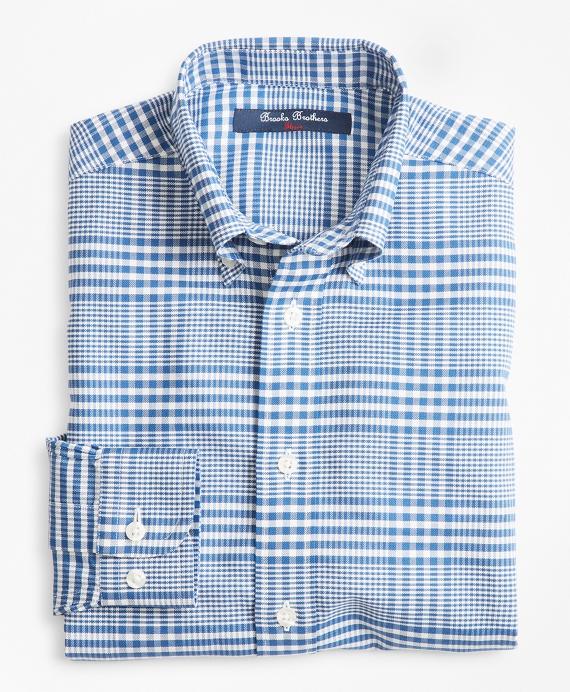 Boys Non-Iron Supima® Cotton Double Gingham Sport Shirt Blue