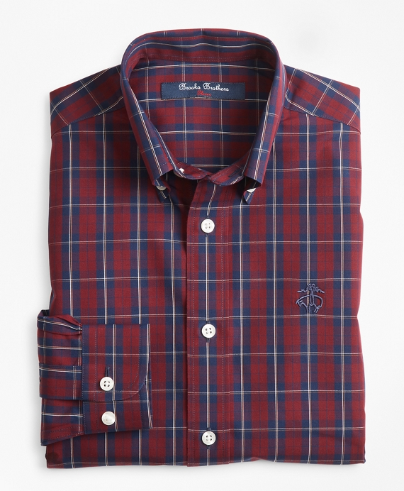 Boys Non-Iron Check Sport Shirt Dark Red-Navy