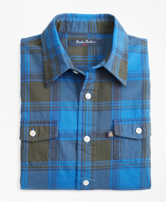 Boys Large Plaid Flannel Sport Shirt Blue-Dark Green