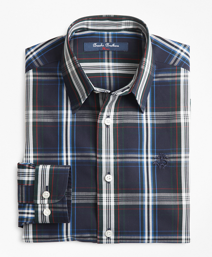 Boys Non-Iron Multi-Plaid Sport Shirt
