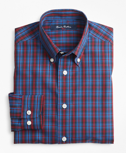 Boys Non-Iron Basketweave Tartan Sport Shirt
