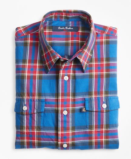 Boys Multi Plaid Flannel Sport Shirt